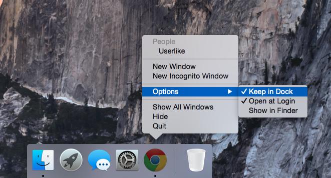 Screenshot of homescreen dock