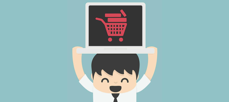 Cartoon man holding up a laptop