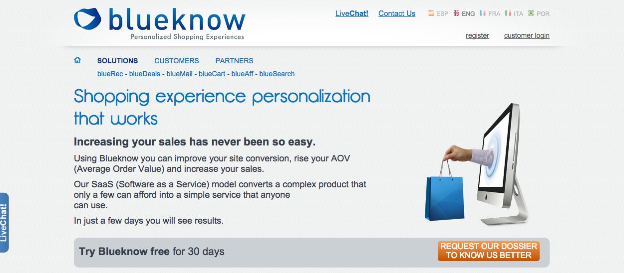 Screenshot of BlueKnow website