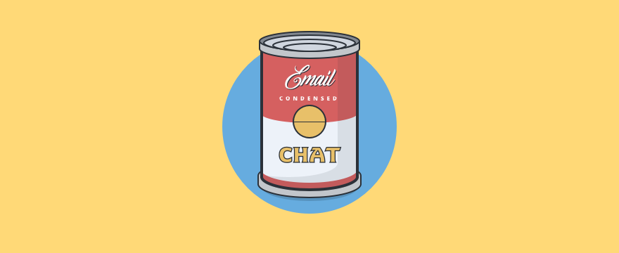 Andy Warhol style can with chat and email canned responses.
