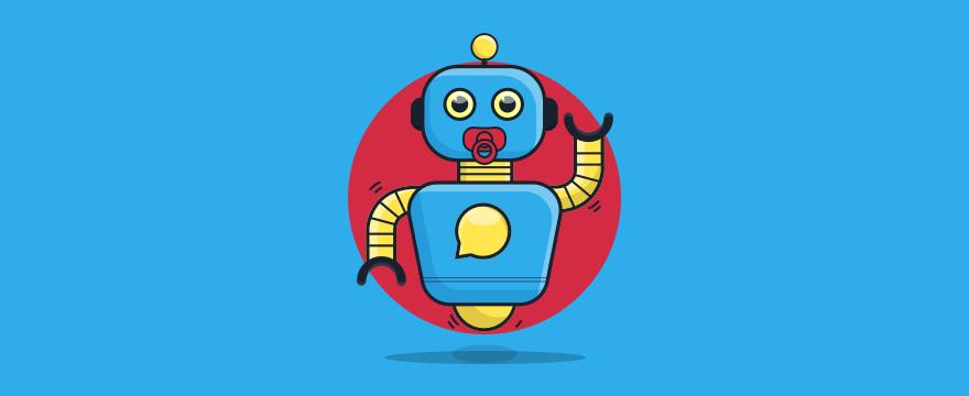 Chatbot mit Schnuller – Headerbild für Blogbeitrag zu Chatbot Namen