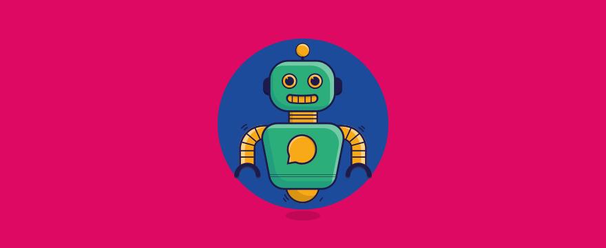 """ein freundlicher Chatbot – Header-Bild für Blogbeitrag """"Chatbot Beispiel"""""""
