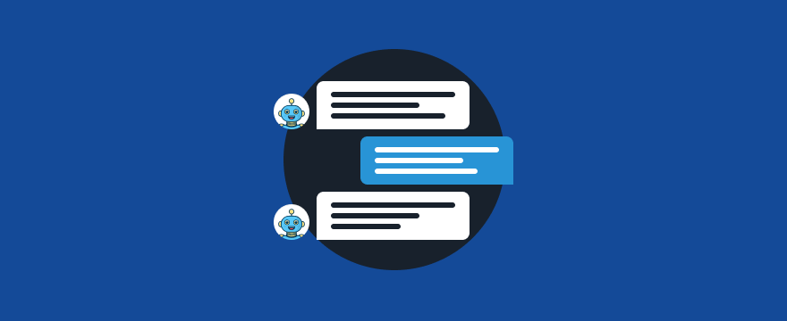 drei Chatbubbles mit Chatbot – Chatbot Texte