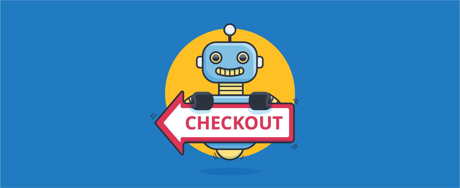 chatbot holding checkout sign - header image for 4 Steps for Creating Compelling Chatbot Funnels