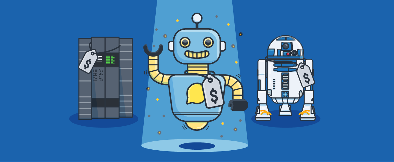 Three robots in a row - header image for 10 Must-Try Chatbot Providers for Every Budget