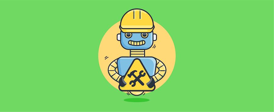 chatbot holding construction sign - header image for chatbot UI