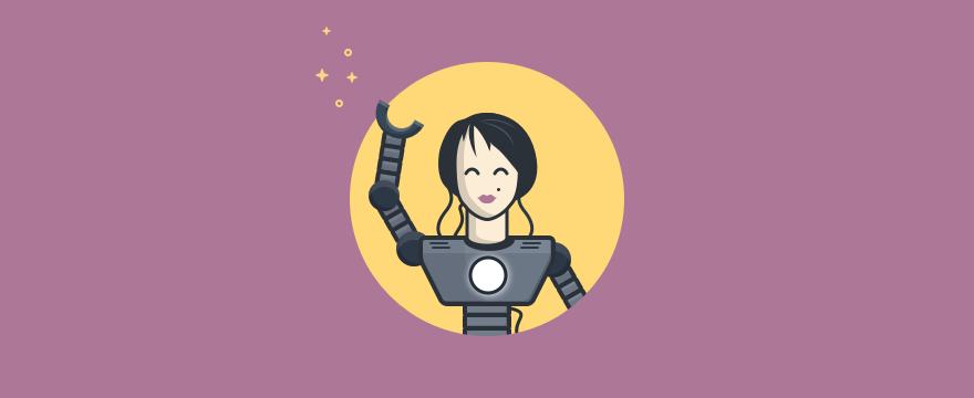 A humanoid chatbot smiling and waving.