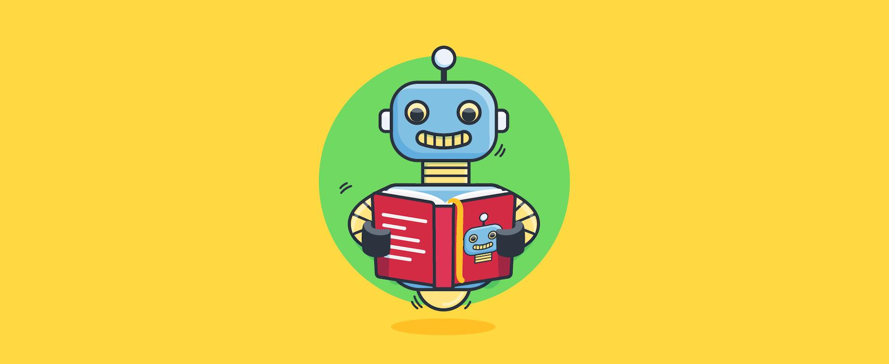 Cartoon von einem Chatbot, der ein Buch liest
