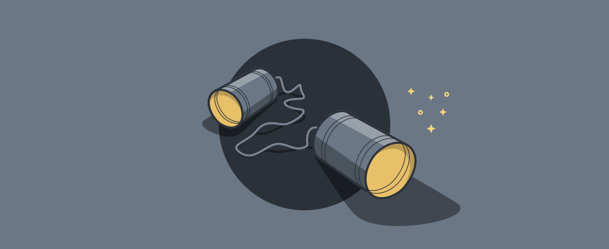 Two tin cans with a line, a basic communication game.