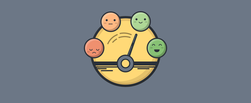 A round scale from happy to sad emojis