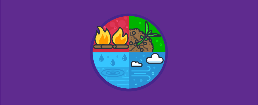 The four elements: Fire, water, earth and wind.