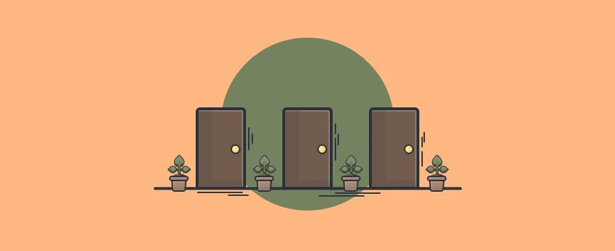 Three doors to signify different customer service scenarios.