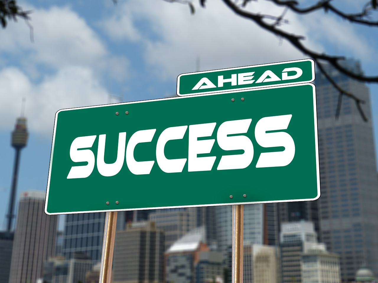 """road sign with """"success"""""""