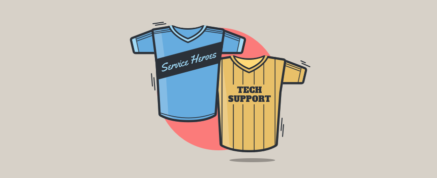 Two sport jerseys with unique customer service team names.