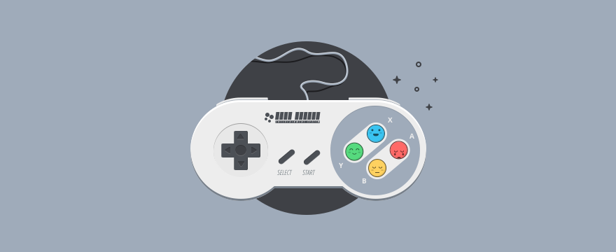 A nintendo game controller with emoji as buttons.