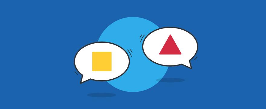 Chat-Bubbles mit geometrischen Formen – Headerbild für Blogbeitrag zu Chat-Tipps für den Kundenservice