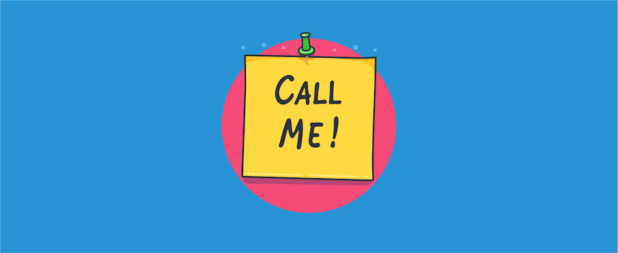 """Post it note saying """"call me."""""""
