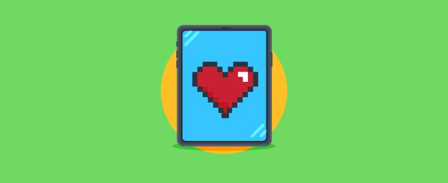 ein Herz aus Pixeln auf einem mobilen Endgerät – Titelbild für Blogbeitrag zu Digitaler Kundenservice