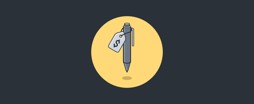 Visualization of a pen with a price tag, header image of direct sales techniques blog post.