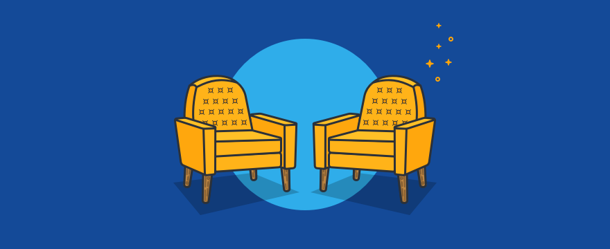 Two chairs in discussion position.
