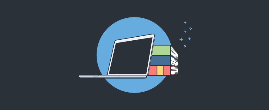 Laptop und Bücher – Headerbild für Blogbeitrag