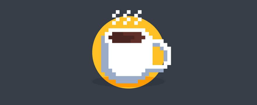 A pixel coffee cup.