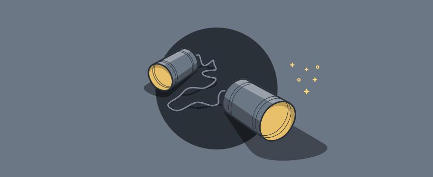 zwei verbundene Blechdosen als Telefonspielzeug – Headerbild für Blogbeitrag zu Kommunikationsspiele