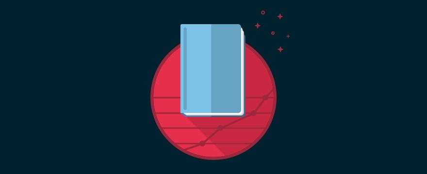 """""""Blaues Buch auf rotem Grund im Comic-Style"""" Headerbild für Blogbeitrag"""
