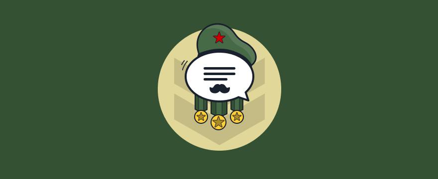 Chat-Bubble als mit Medaillen ausgezeichneter Admiral – Headerbild für Blogbeitrag zu Live-Chat Vorteilen und Nachteilen