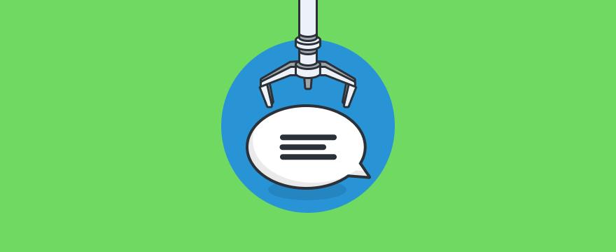 Live-Chat-Bubble und Greifarm – Blogpost zu Live-Chat in der Fertigungsindustrie