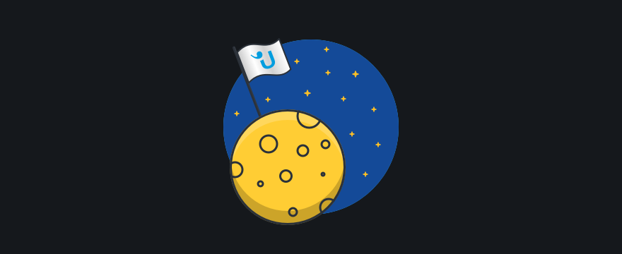 """a moon with a Userlike flag – header image for blog post """"first steps with live chat"""""""