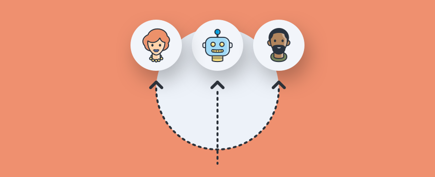 Three chat Operator avatars connected in a loop - Header image for blog post on chat routing