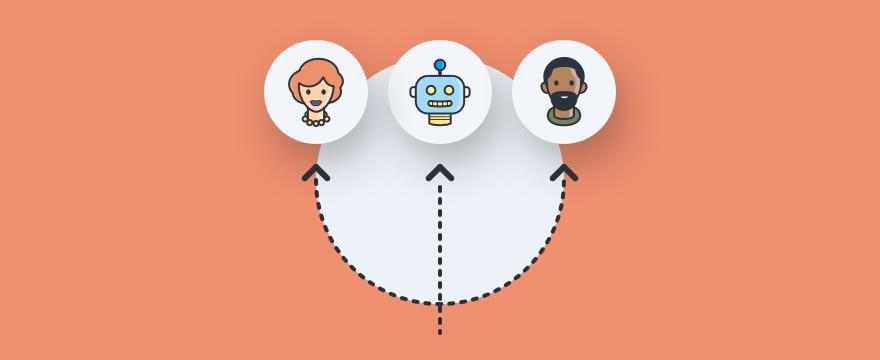 drei Operatoren mit Pfeilen verbunden - Headerbild für Blogbeitrag zu Chat-Routing