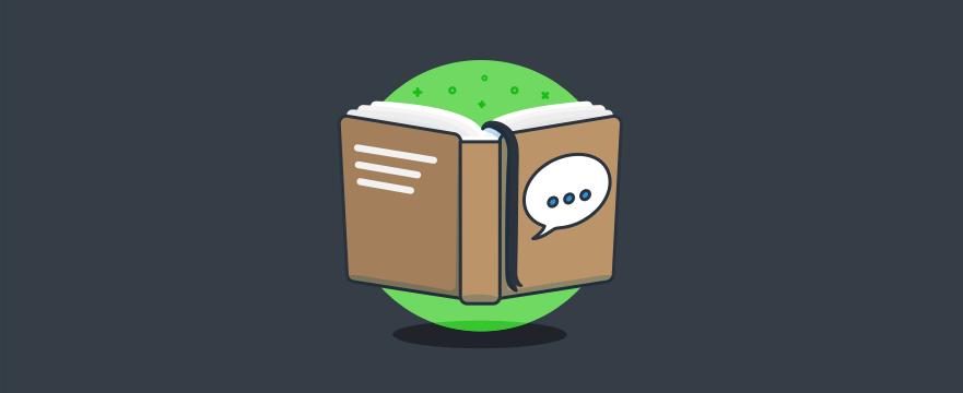 ein Buch mit einer Chat-Bubble auf dem Cover – Headerbild für Blogbeitrag zu Live-Chat-Support