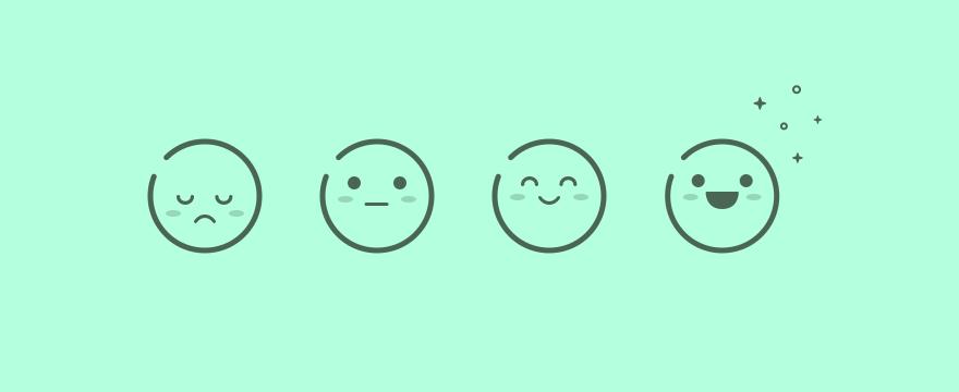 The emoji of differing customer satisfaction.