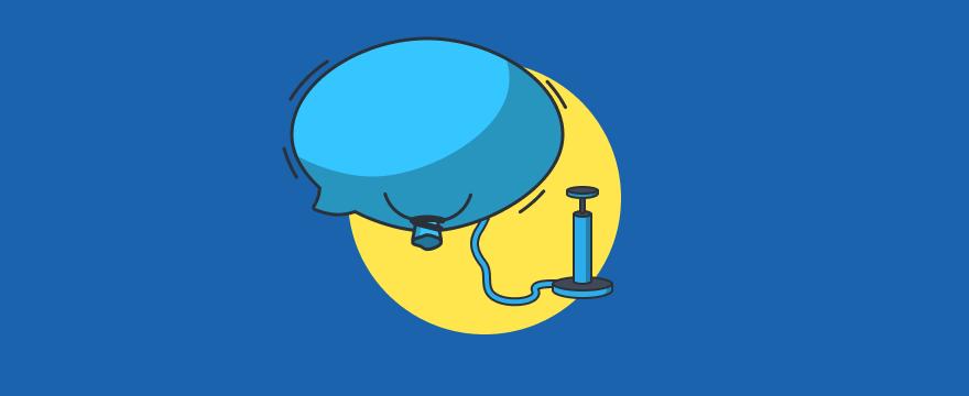 """Luftballon wird aufgepumpt – Headerbild Blogbeitrag """"Mehr Live-Chats bekommen"""""""
