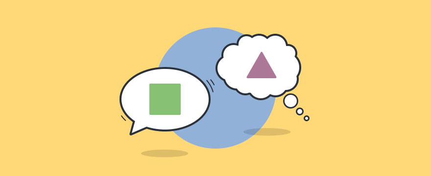 Eine Sprechblase und eine Gedankenblase, die sich gegenseitig nicht verstehen