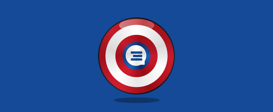 A Captain America shield with a live chat icon on it.