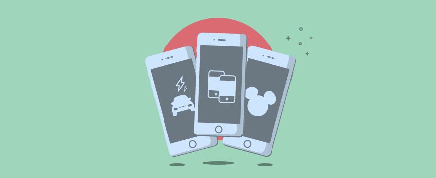 Cartoon of three smartphones