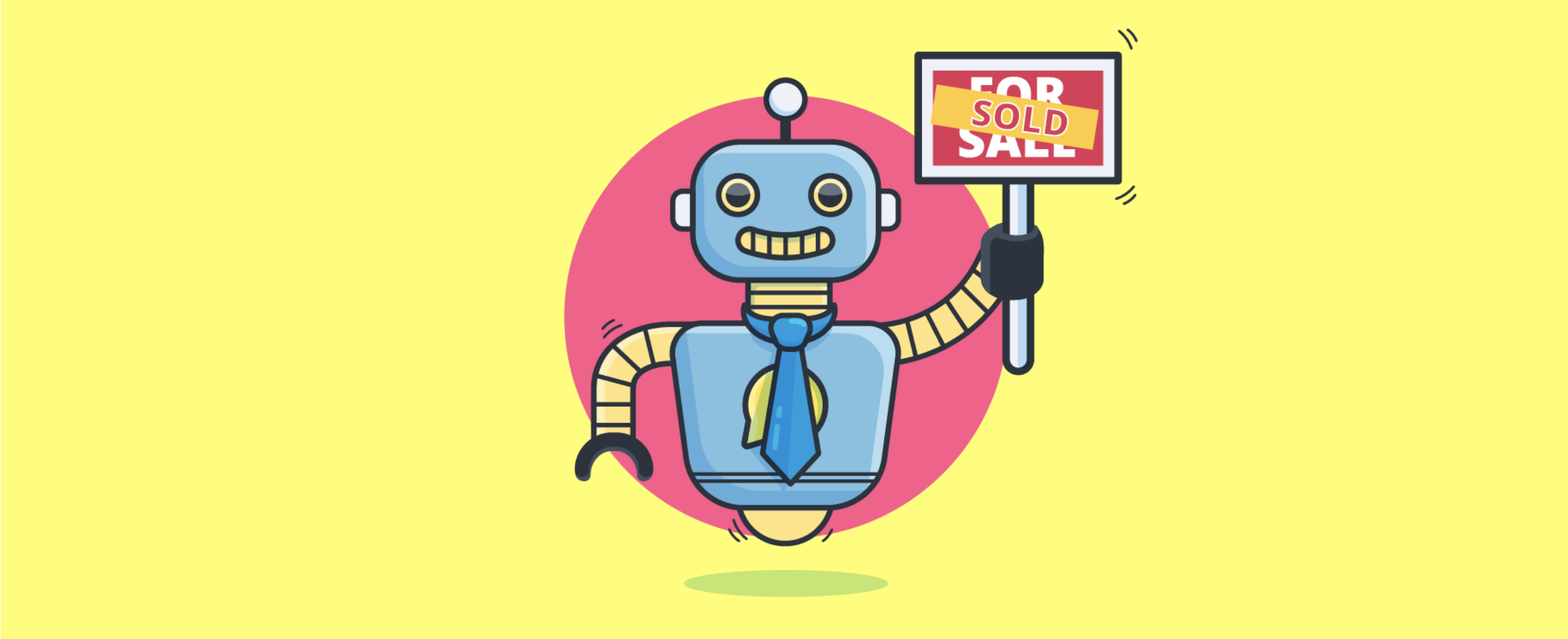 chatbot with sold sign - header image for 4 Real Estate Chatbot Options for Agencies