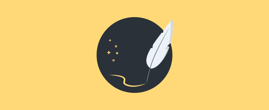 Visualization of a quill drawing a line, header image sales quotes blog post.