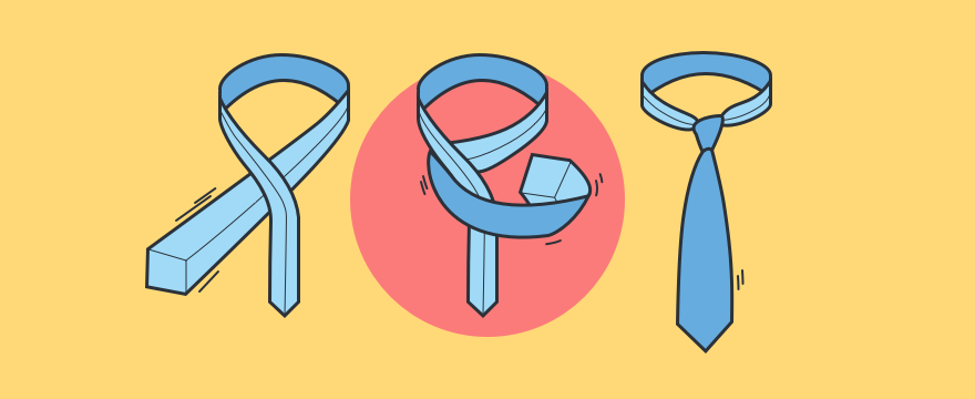 Visualization of steps for tying a tie, header image for sales skills blog post.