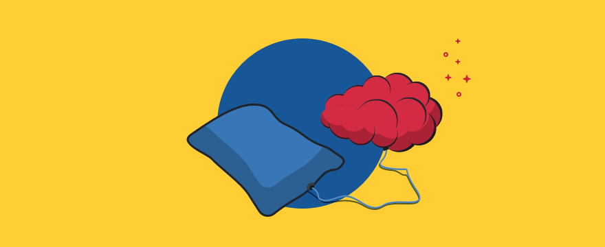 Ein Kissen versorgt ein Gehirn mit Energie. Titelbild für den Blog-Post über den Zusammen hang von Schlaf und Produktivität.