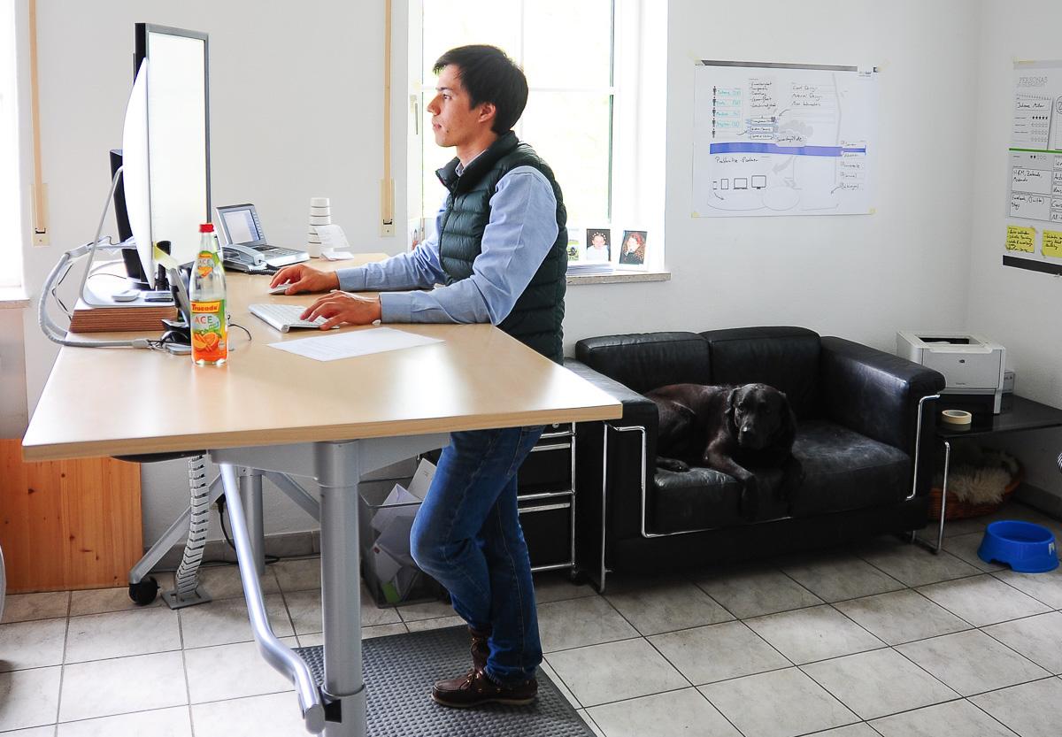 Sebastian Poll behind his desk.