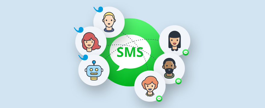 Operators and customers connected via SMS and Userlike.