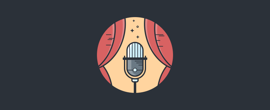 Header image of a microphone in the center of two curtains