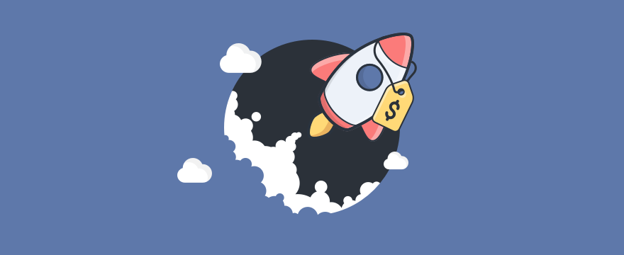 Header image of startup sales blog post showing a price-tagged rocket rising up.