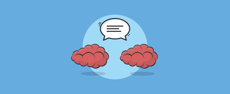 Deux cerveaux et une bulle de parole - en-tête d'image blog blog post