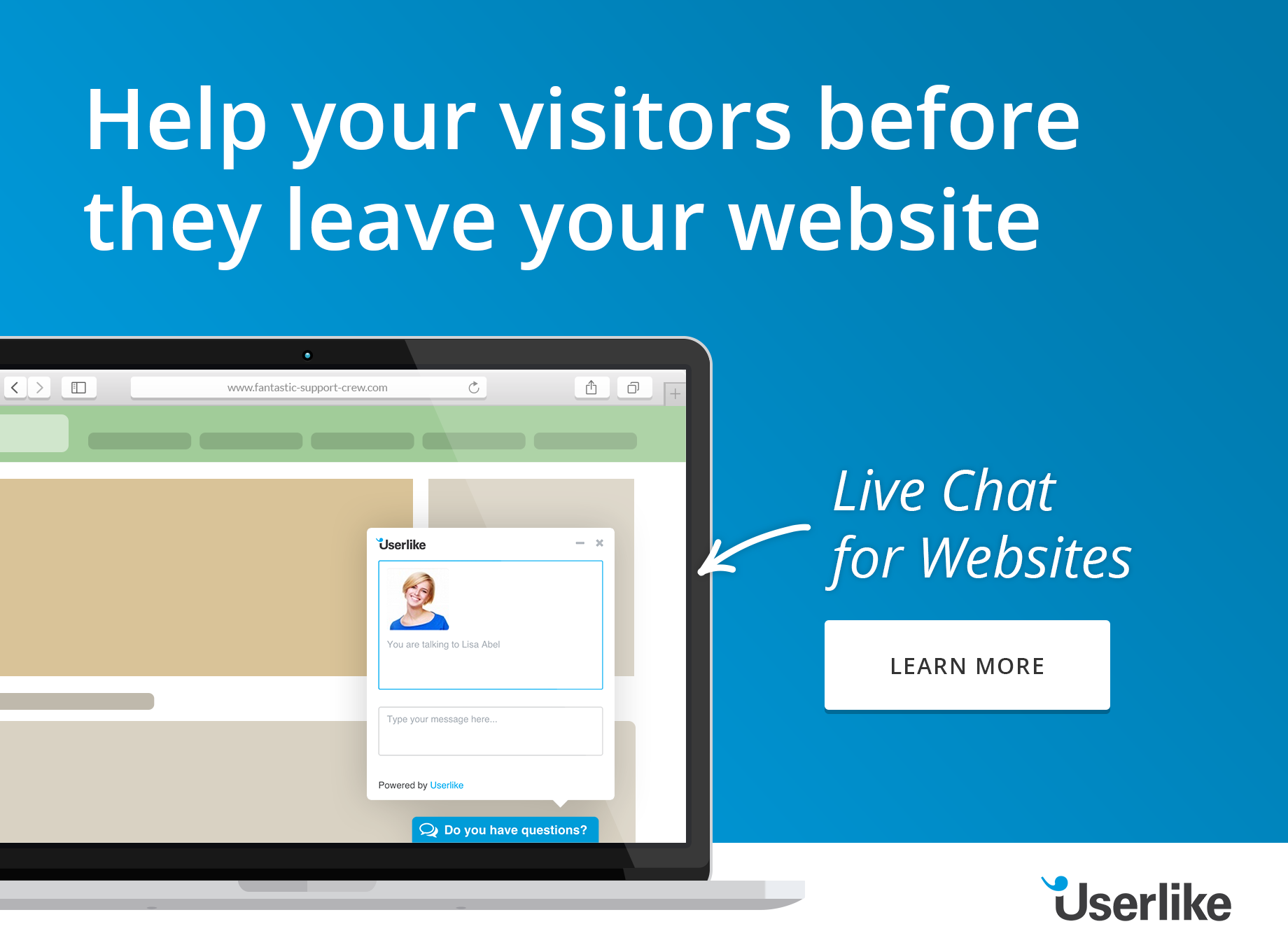 Cartoon of computer screen with Userlike live chat- header to blog post The Best Live Chat Alternative to Kayako