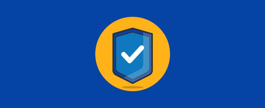 """Ein Schild mit einem Haken. Titelbild des Blogposts """"Die 5 wichtigsten Bestandteile einer vertrauenswürdigen Website"""""""